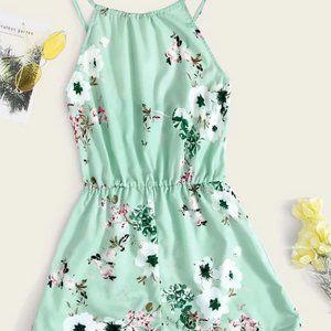 Dresses & Skirts - Green Floral Halterneck Romper in S, M, L